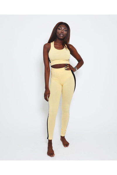 Black Stripe Yellow Crop Top And Leggings Sports Set-SinglePrice