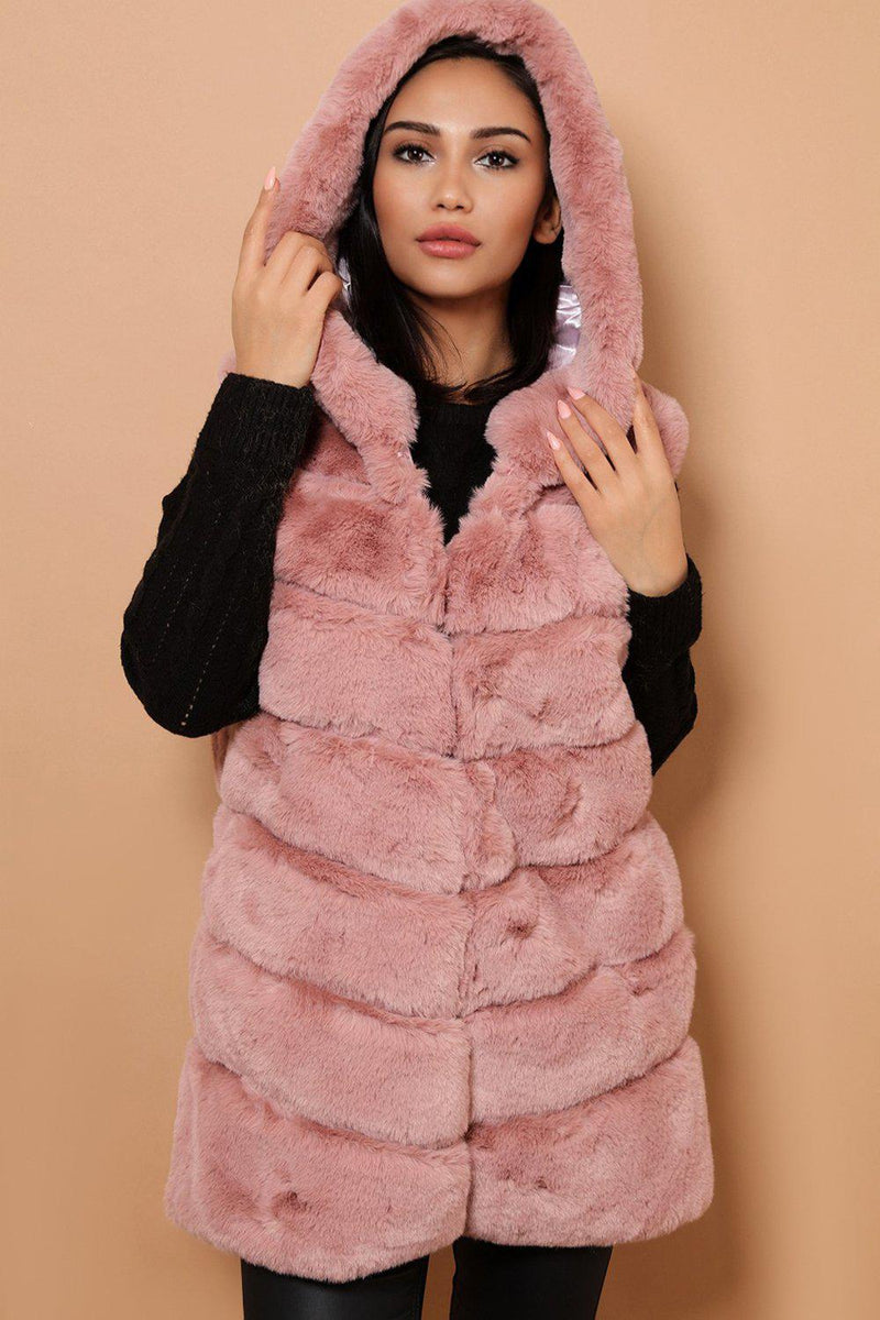 Pink Faux Fur Panelled Hooded Gilet - SinglePrice