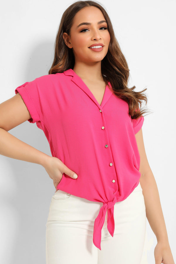Hot Pink Front Knot Cropped Shirt - SinglePrice