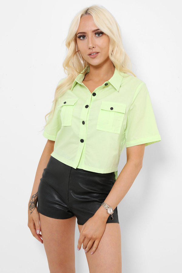 Green Button Down Cropped Shirt-SinglePrice