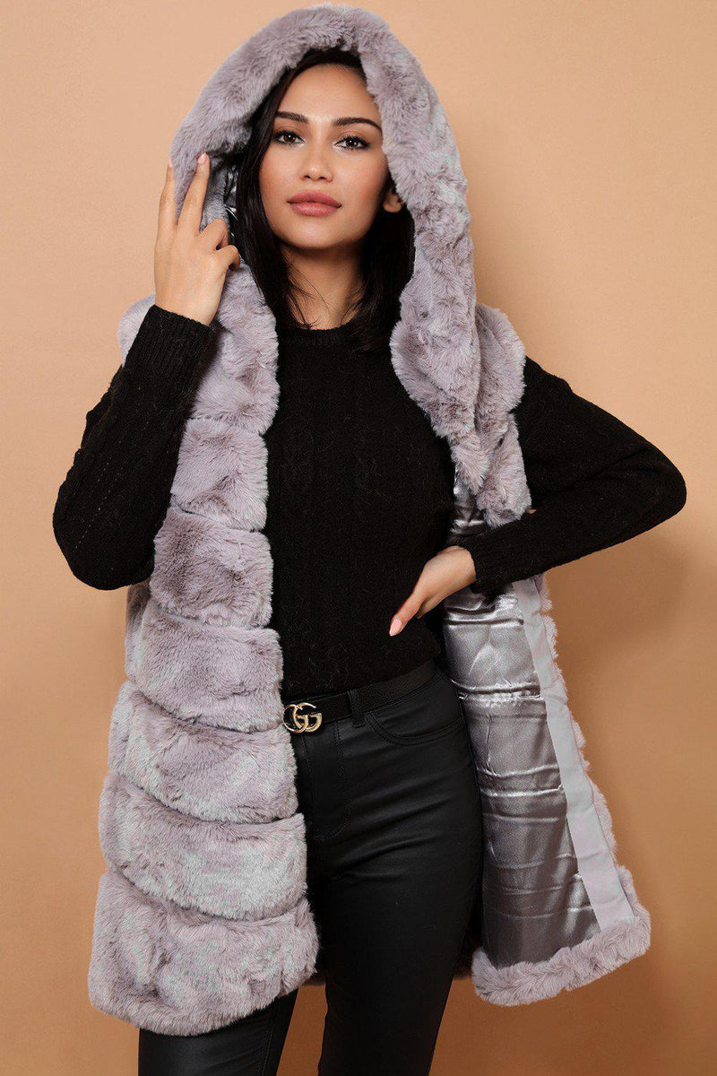 Grey Faux Fur Panelled Hooded Gilet - SinglePrice