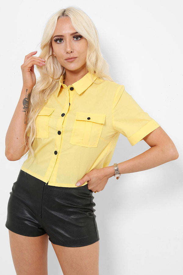 Yellow Button Down Cropped Shirt-SinglePrice
