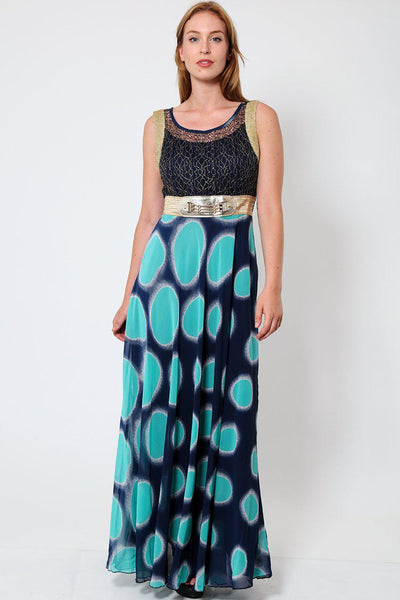 Aqua Green Dotted Print Maxi Dress-SinglePrice