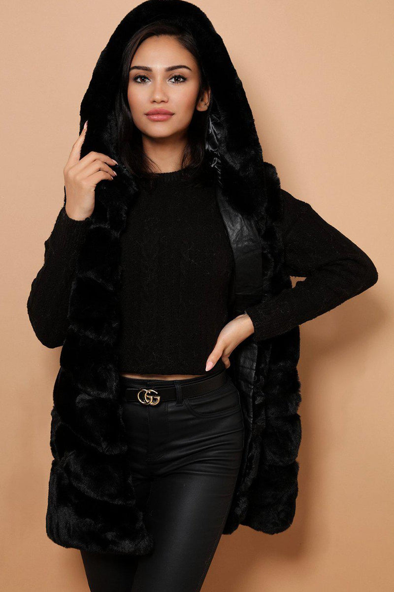 Black Faux Fur Panelled Hooded Gilet - SinglePrice