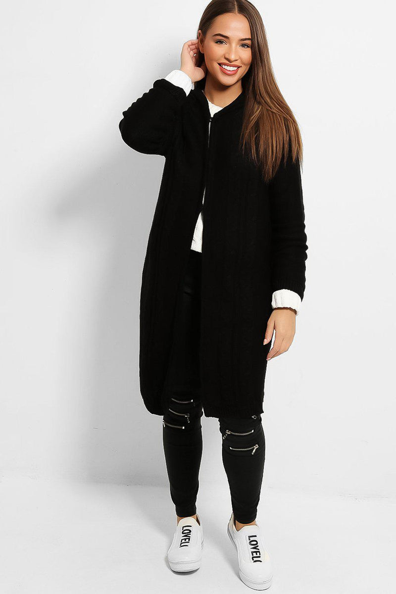 Black Cable Knit Hook And Eye Hooded Cardigan - SinglePrice
