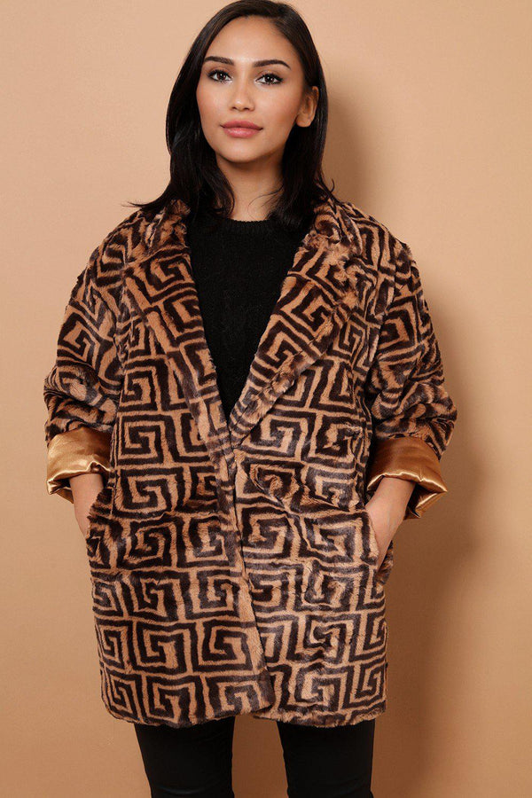 Faux Fur Camel V-Neck Jacket In Greek Print - SinglePrice