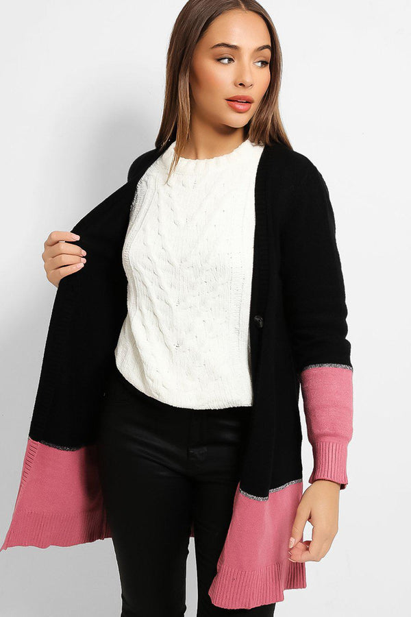 Black Colour Blocking Pink Hem One Button Cardigan-SinglePrice