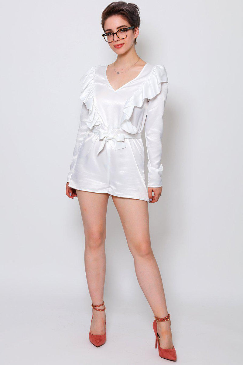 V-Neck Frilled White Playsuit - SinglePrice