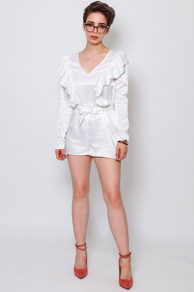 V-Neck Frilled White Playsuit-SinglePrice