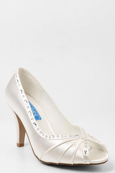 Crystals Embellished Trim Cream Satin Peep Toe Heels-SinglePrice