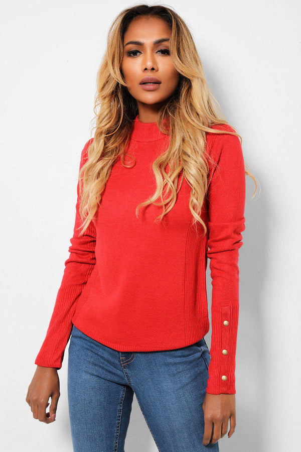 Gold Studs Cuffs Red High Neck Ribbed Pullover-SinglePrice