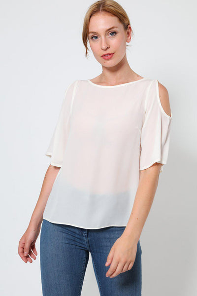 Cream Cold Shoulder Sheer Top-SinglePrice