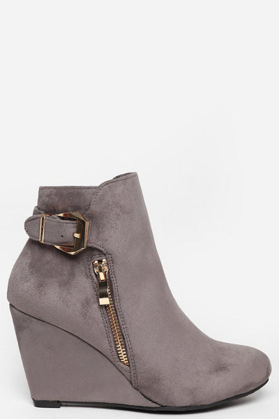 Gold Zip & Buckle Grey Wedge Ankle Boots-SinglePrice