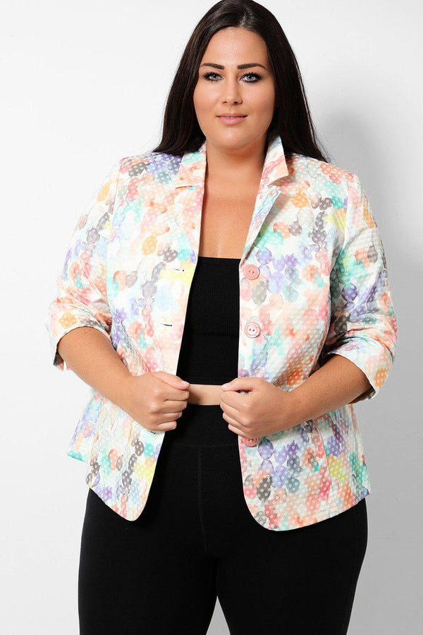Watercolour Floral Polka Dot Single Breasted Blazer - SinglePrice