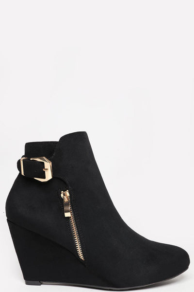Gold Zip & Buckle Black Wedge Ankle Boots-SinglePrice