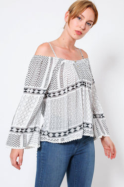 Grey Off Shoulder Boho Cotton Top-SinglePrice