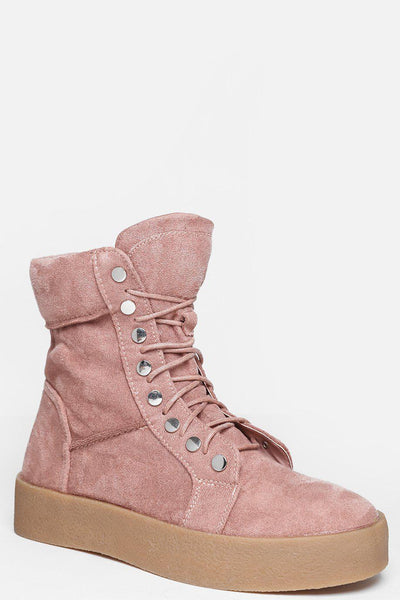 Silver Studs Trim Pink Hi Top Boots-SinglePrice
