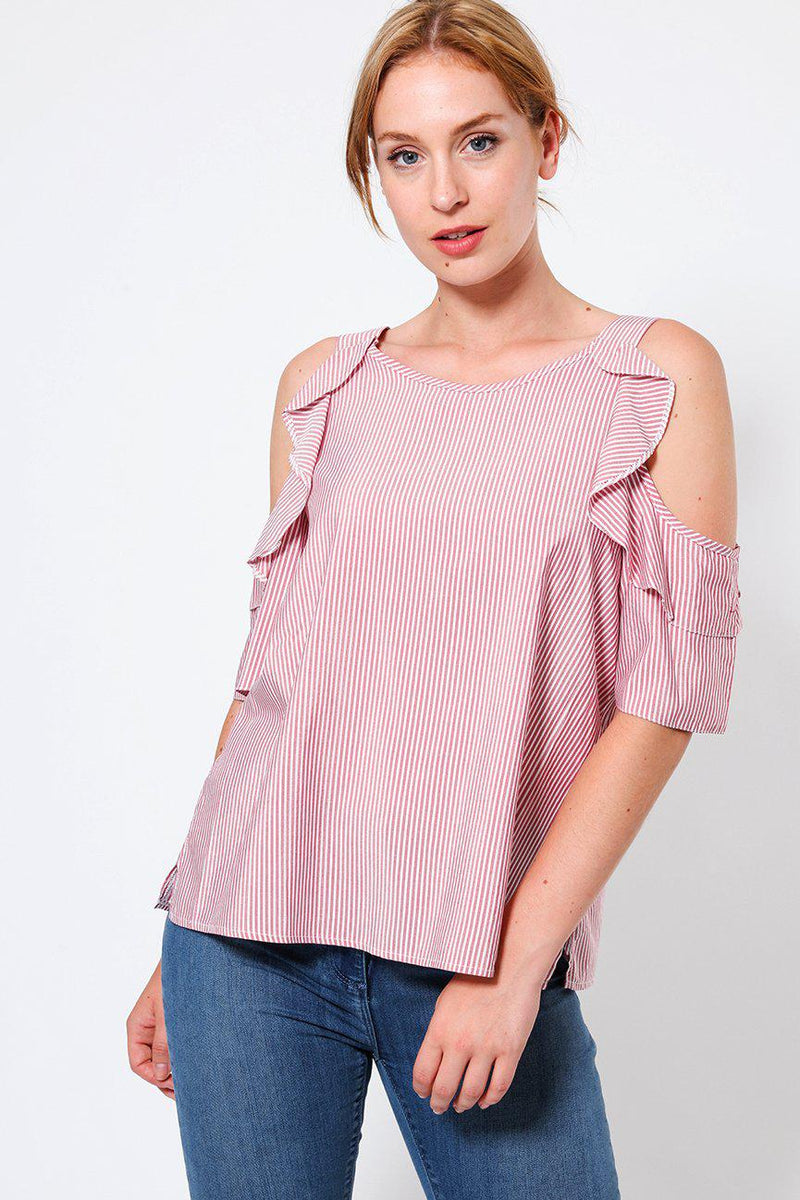 Pink Shimmer Stripe Off Shoulder Top - SinglePrice