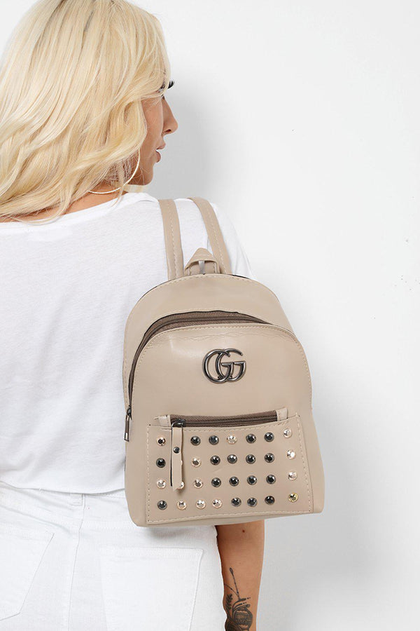 Beige Studded Faux Leather Backpack-SinglePrice