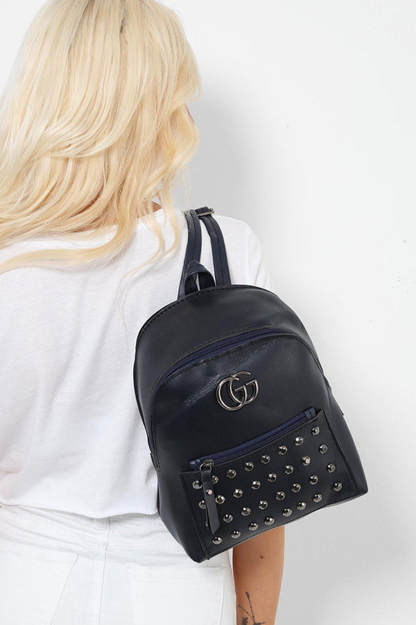 Navy Studded Faux Leather Backpack-SinglePrice