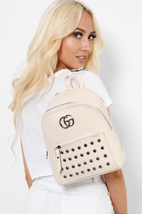 Cream Studded Faux Leather Backpack-SinglePrice