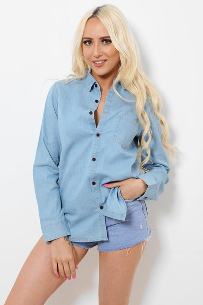 Light Blue Thin Denim Shirt-SinglePrice