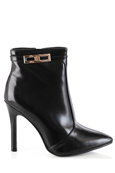 Gold Buckle Black Patent High Heel Ankle Boots-SinglePrice
