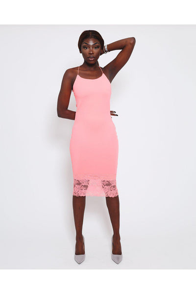 Pink Lace Hem Cami Dress-SinglePrice
