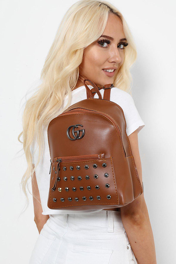 Brown Studded Faux Leather Backpack-SinglePrice