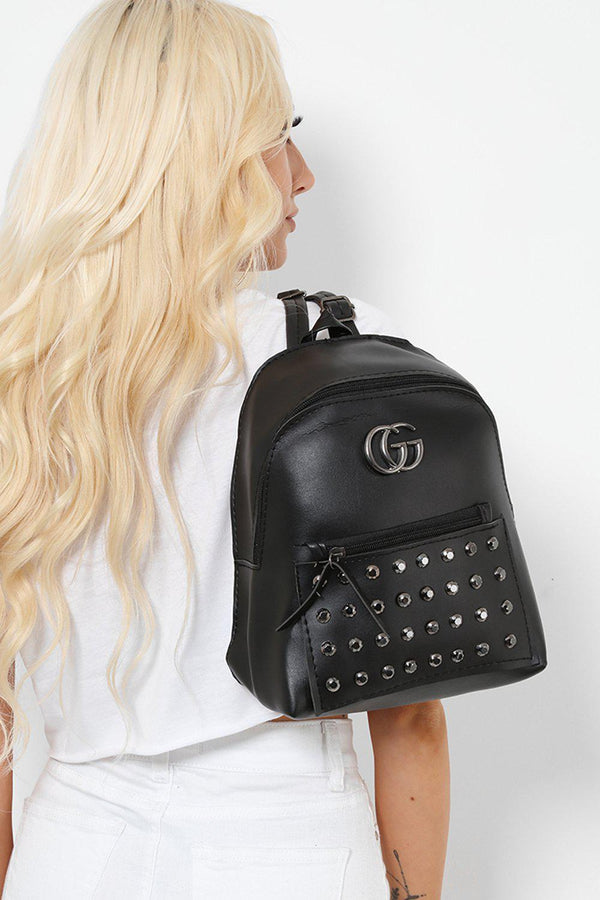 Black Studded Faux Leather Backpack-SinglePrice