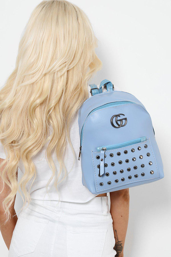 Blue Studded Faux Leather Backpack-SinglePrice