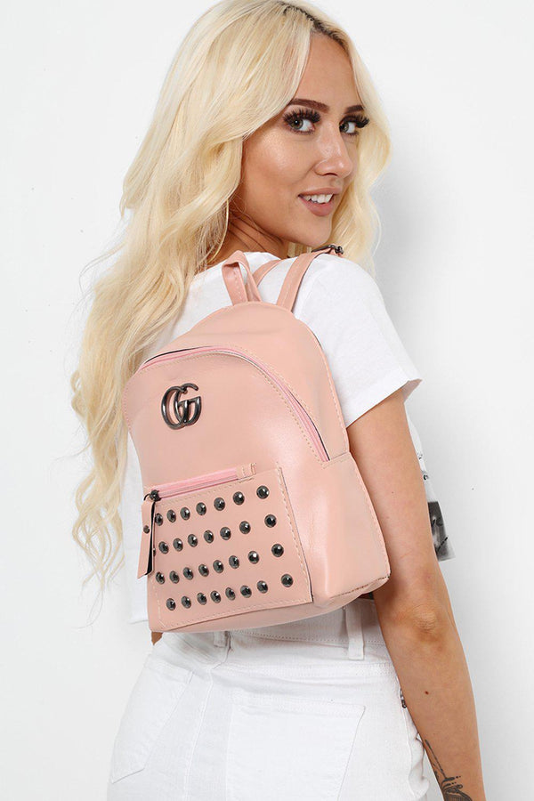 Light Pink Studded Faux Leather Backpack-SinglePrice