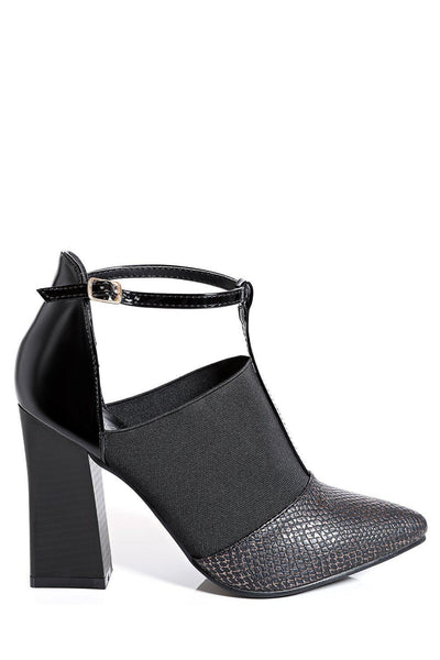Black Flared Heel T-Bar Point Toe Heels-SinglePrice