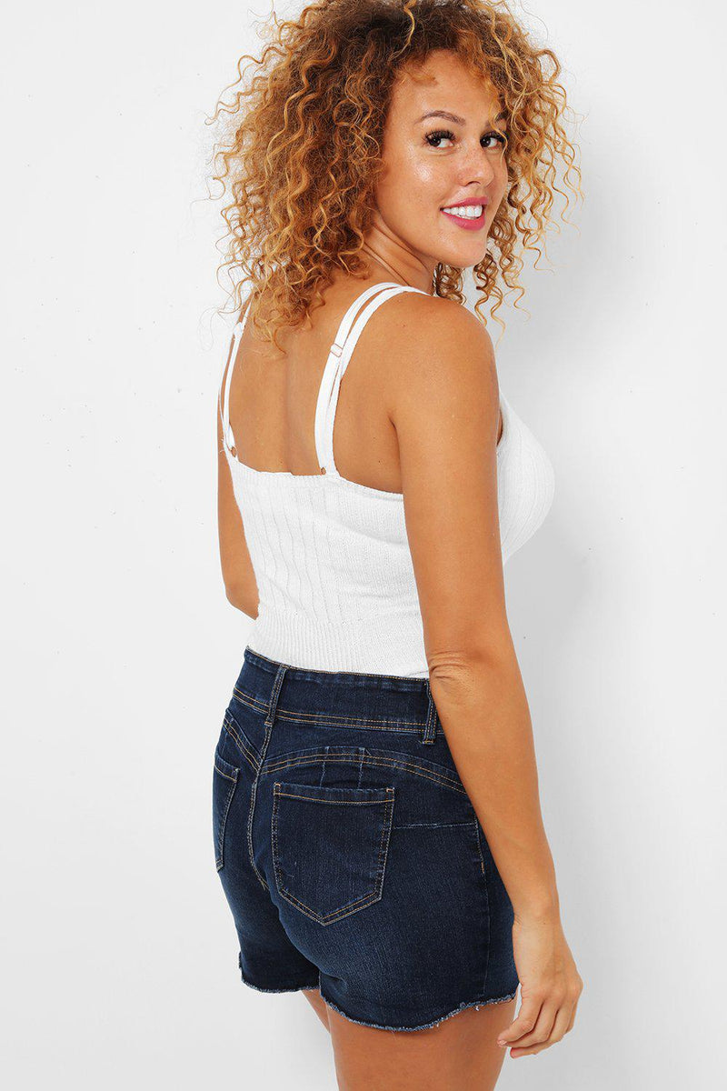 Double Button Waistband Navy Distressed Shorts - SinglePrice