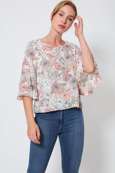 Nude Floral Print Short Sleeved Top-SinglePrice