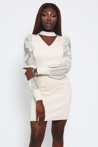 Beige Lace Sleeves Knitted Choker Dress-SinglePrice