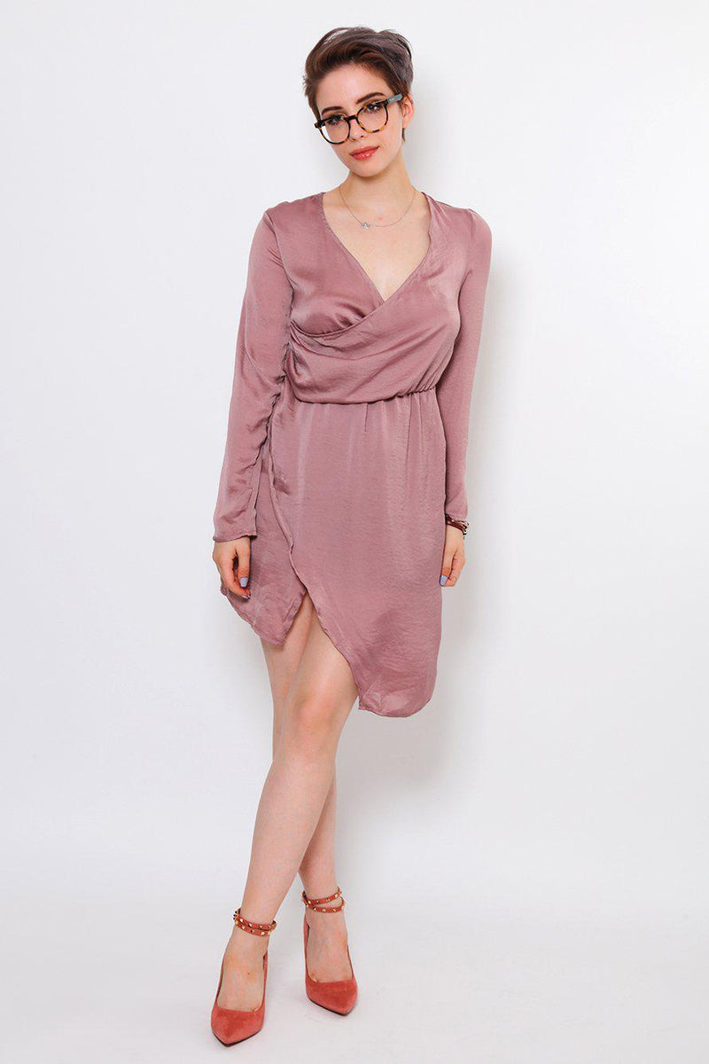 V-Neck Pink Draped Asymmetric Dress-SinglePrice