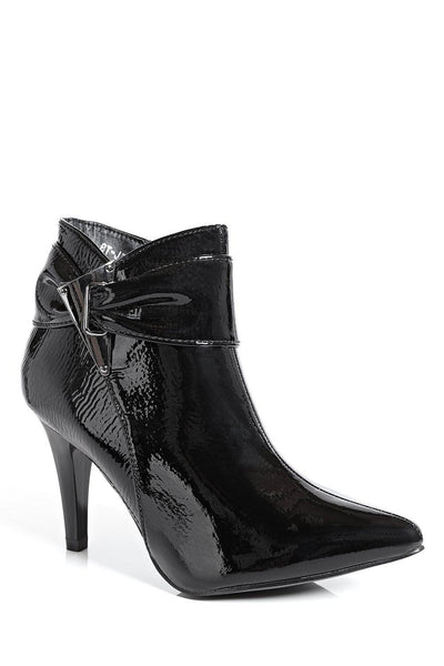 Black Patent Textured Ankle Boots-SinglePrice