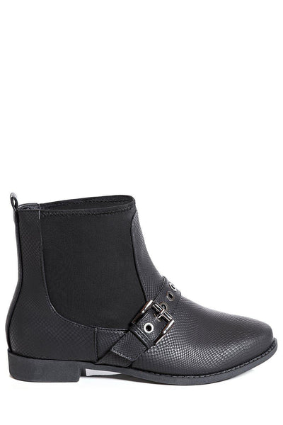 Black Buckle Strap Front Flat Chelsea Boots-SinglePrice