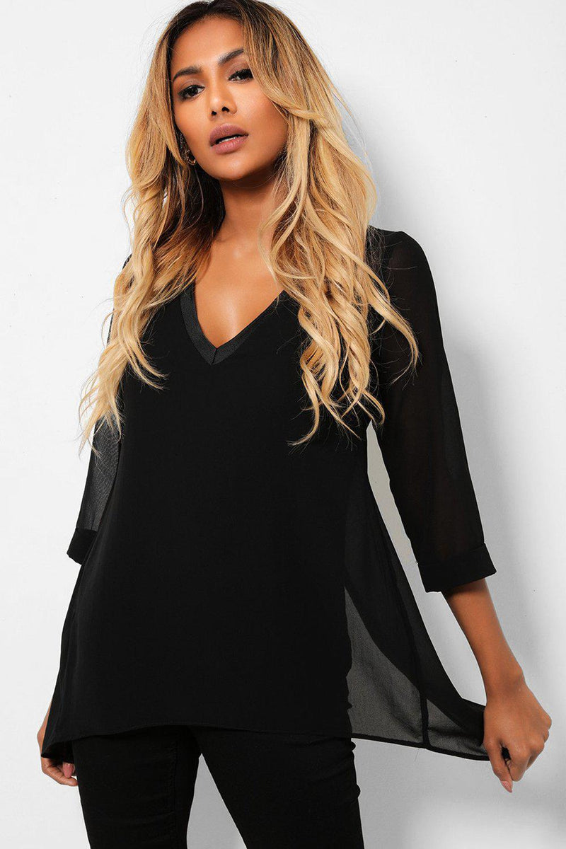 Black Split Back Chiffon V-Neck Top - SinglePrice