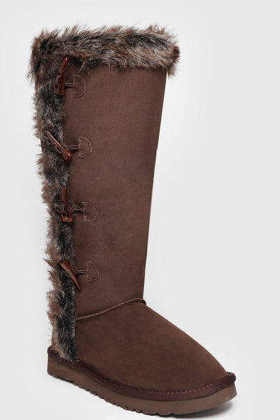 Toggle Details Fur Trim Brown Knee High Warm Boots-SinglePrice