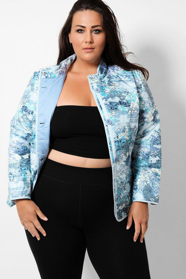 Blue Watercolour Snakeskin Print Padded Jacket - SinglePrice