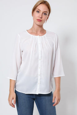 White Collarless 3/4 Sleeve Blouse-SinglePrice