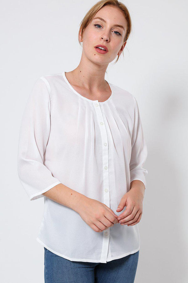 White Collarless 3/4 Sleeve Blouse - SinglePrice