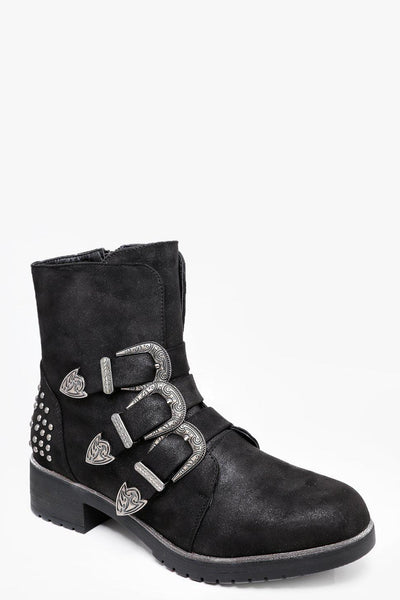 Studded Back Triple Buckle Black Boots-SinglePrice