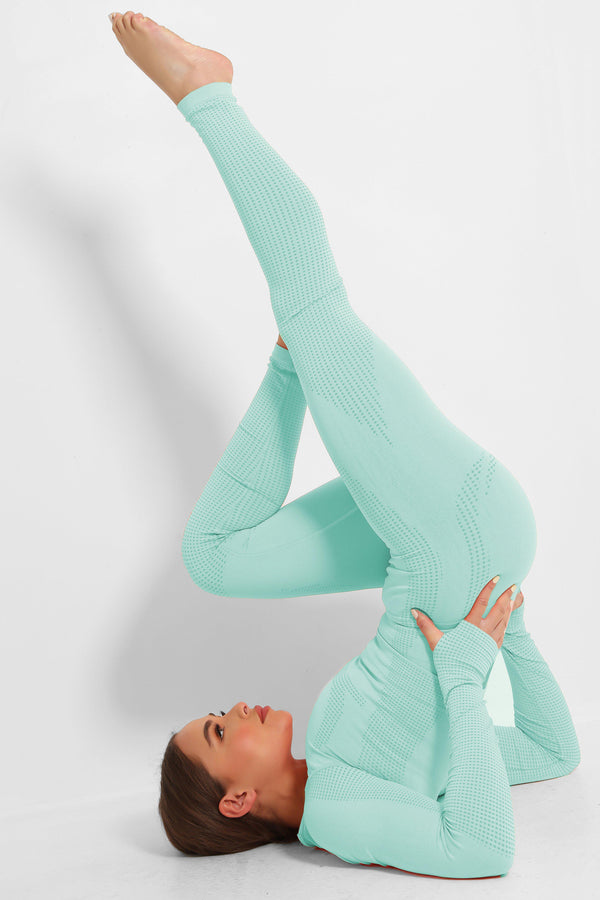 Aqua Super Stretch Seamless Crop Top And Leggings Set - SinglePrice