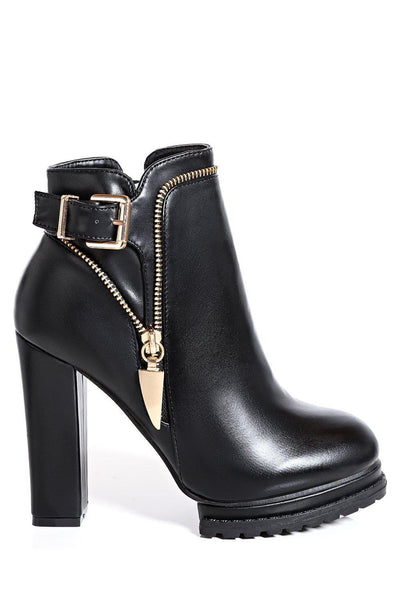 Black Tractor Sole Ankle Boots-SinglePrice