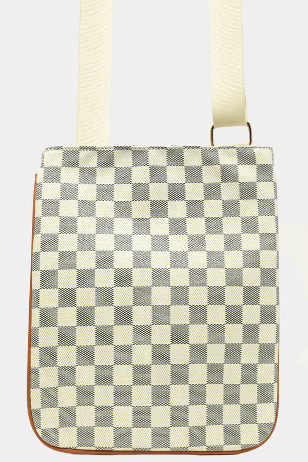 White Checked Print Tall Messenger Bag - SinglePrice