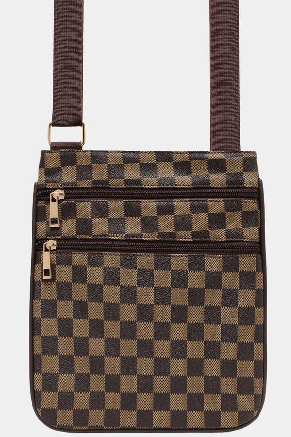 Coffee Checked Print Tall Messenger Bag - SinglePrice