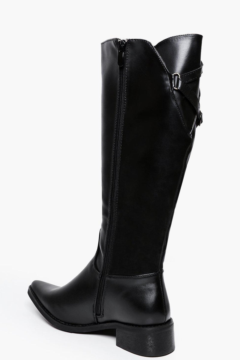 Textured Matte Point Toe Knee High Boots-SinglePrice